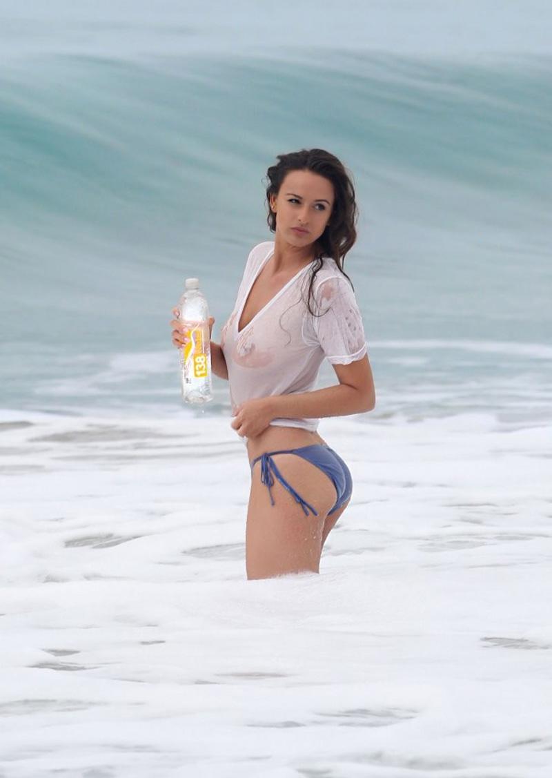 Kayla gets wet