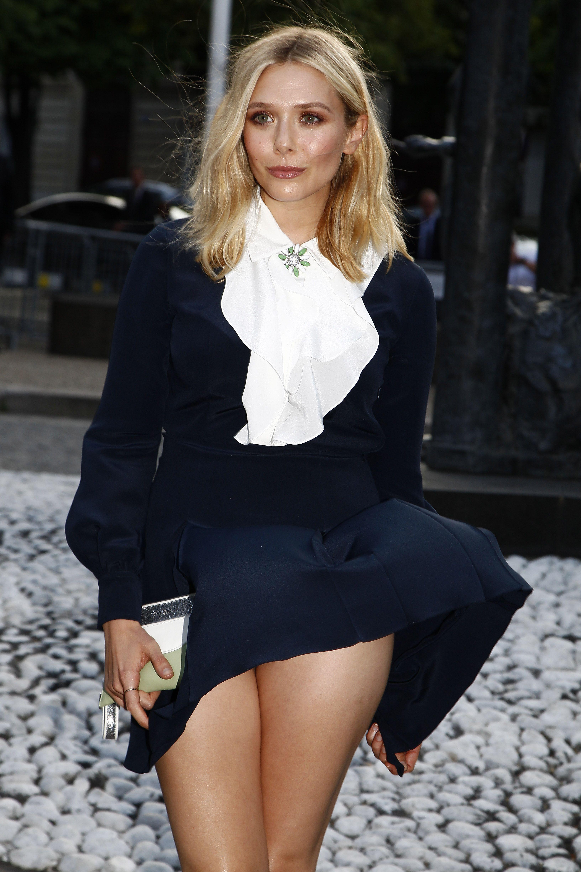 the cheapest sleek best value Elizabeth Olsen Wind Blown Upskirt At Miu Miu Fragrance And ...