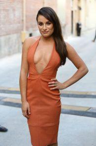 lea-michele-deep-cleavage-orange-dress-02