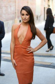 lea-michele-deep-cleavage-orange-dress-04