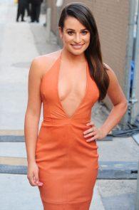 lea-michele-deep-cleavage-orange-dress-05
