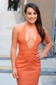 lea-michele-deep-cleavage-orange-dress-06