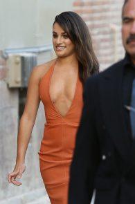 lea-michele-deep-cleavage-orange-dress-08