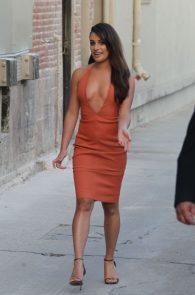 lea-michele-deep-cleavage-orange-dress-09
