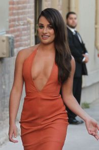 lea-michele-deep-cleavage-orange-dress-10