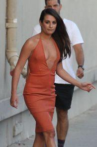 lea-michele-deep-cleavage-orange-dress-11