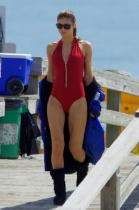 alexandra-daddario-red-bikini-on-set-of-baywatch-in-tybee-07