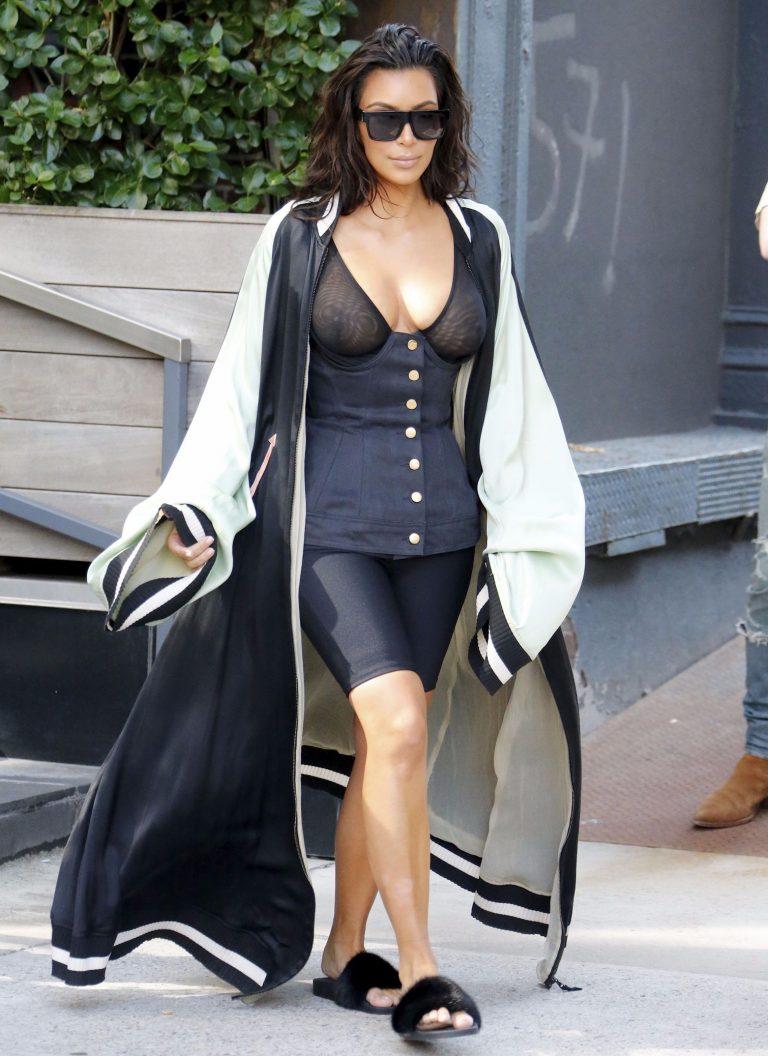 Kim Kardashian See Through Bra In New York 05 Celebrity