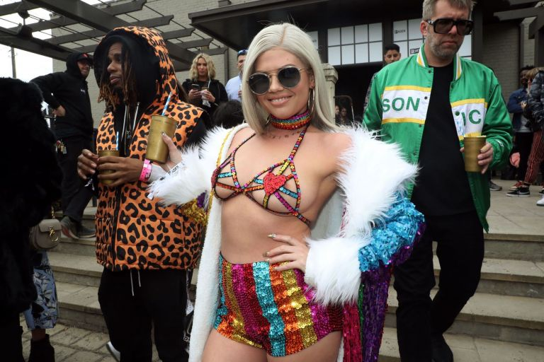 chanel west coast nipple slip at fader fort in new york